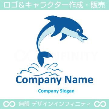 ジャンプ,イルカのイメージのロゴマークデザインです。