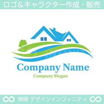 住宅,川,緑のシンボルマークのロゴマークデザインです。
