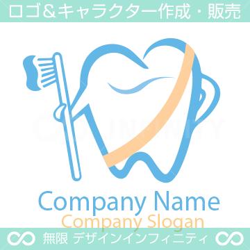歯と歯ブラシがモチーフのロゴマークデザインです。