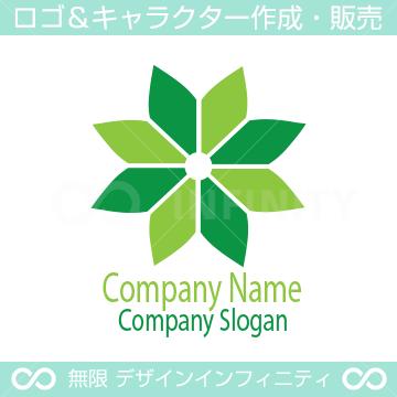 グリーン、フラワー、幸運をイメージしたロゴデザインです。