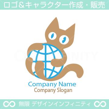 猫と地球をイメージしたロゴマークデザインです。