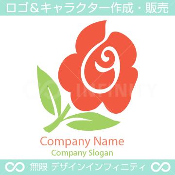 薔薇、ローズをイメージしたシンプルなロゴマークデザインです。