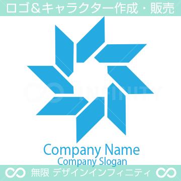 風と技術のシンボルマークのロゴマークデザインです。