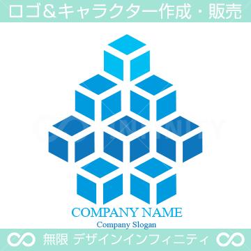 8個のキューブで上昇をイメージしたロゴマークデザインです。