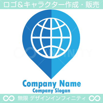 ナビゲーション、地球、グローバル、ドロップ形のロゴマーク