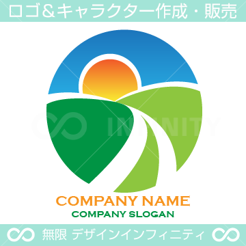 太陽、大地、自然、始まりをイメージ、作成したロゴ